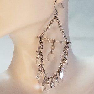 Boho Silver Tone & Teardrop Chandelier Earrings